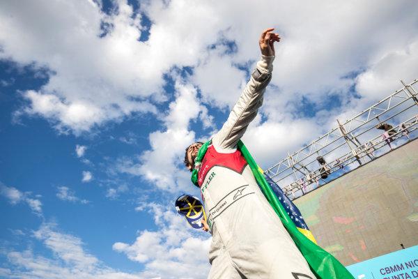 Lucas Di Grassi (BRA), Audi Sport ABT Schaeffler, Audi e-tron FE04, celebrates on the podium.