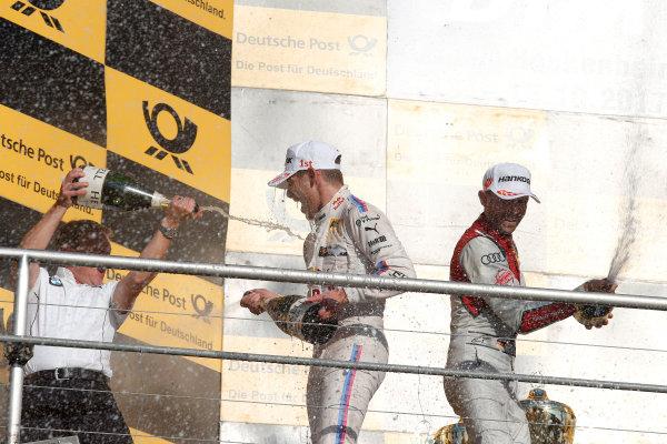 2017 DTM Round 9  Hockenheimring, Germany  Sunday 15 October 2017. Podium: Marco Wittmann, BMW Team RMG, BMW M4 DTM, Stefan Reinhold, Team principal BMW Team RMG and René Rast, Audi Sport Team Rosberg, Audi RS 5 DTM  World Copyright: Alexander Trienitz/LAT Images ref: Digital Image 2017-DTM-HH2-AT2-2060