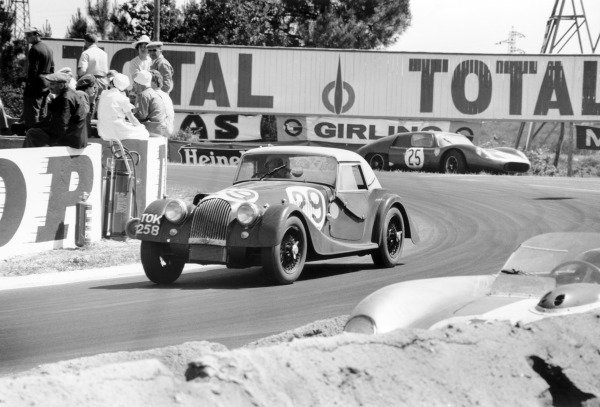 Le Mans, France.23rd - 24th June 1962.Chris Lawrence/Richard Shepard-Baron, Morgan Plus 4 Triumph, 13th position overall, 11th in GT Class, action.World Copyright: LAT PhotographicRef: L1205-8