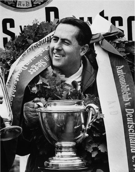 Nurburgring, Germany. 7 August 1966.Jack Brabham, Brabham BT19-Repco, 1st position, podium .World Copyright: LAT PhotographicRef: 1341/34A-35