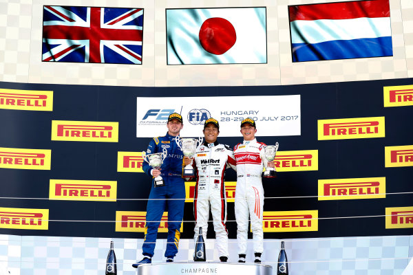 Hungaroring, Budapest, Hungary. Sunday 30 July 2017 Nobuharu Matsushita (JPN, ART Grand Prix). Oliver Rowland (GBR, DAMS). and Nyck De Vries (NED, Rapax).  Photo: dunbar/FIA Formula 2 ref: Digital Image _X4I0461