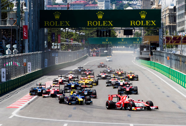 2017 FIA Formula 2 Round 4. Baku City Circuit, Baku, Azerbaijan. Saturday 24 June 2017. Charles Leclerc (MCO, PREMA Racing) leads Nicholas Latifi (CAN, DAMS) and the rest of the field at the start of the race. Photo: Zak Mauger/FIA Formula 2. ref: Digital Image _56I7417