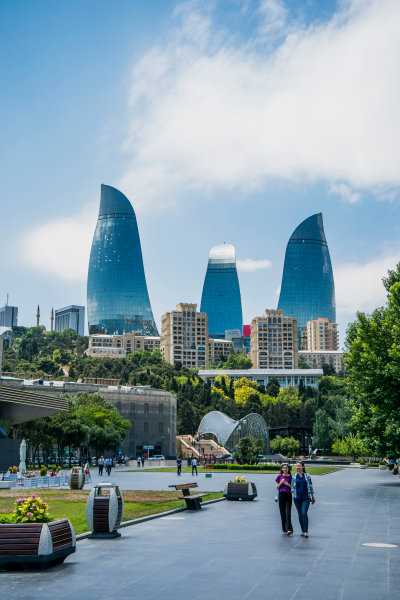 Baku City Circuit, Baku, Azerbaijan. Wednesday 21 June 2017. A view of the Flame Towers. World Copyright: Glenn Dunbar/LAT Images ref: Digital Image DSC01349