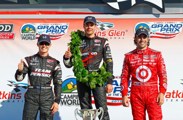 2-4 July, 2010, Watkins Glen, New York, USARyan Briscoe, Will Power and Dario Franchitti celebrate in victory lane.©2010, Phillip Abbott, USALAT Photographic