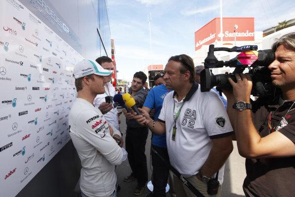 Circuit de Catalunya, Barcelona, Spain 19th May 2011 Nico Rosberg, Mercedes GP W02, gives an interview. Portrait. Media.  World Copyright: Steve Etherington/LAT Photographic ref: Digital Image SNE23713
