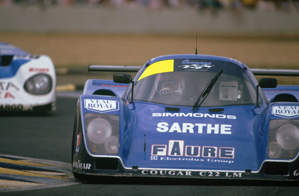 Le Mans, France. 10th - 11th June 1989.Patrick Gonin/Bernard de Dryver/Bernard Santal (Cougar C22LM Porsche), retired, action. World Copyright: LAT Photographic.Ref: 89LM52