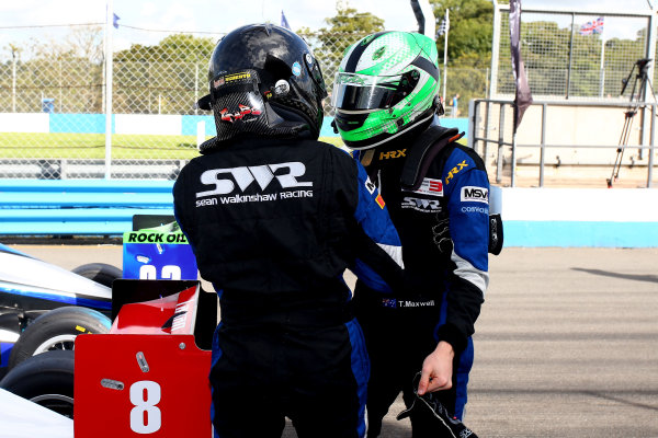 2016 BRDC F3 Championship, Donington Park, Leicestershire. 10th - 11th September 2016. Eugene Denyssen (RSA) Sean Walkinshaw Racing BRDC F3 and Thomas Maxwell (AUS) Sean Walkinshaw Racing BRDC F3. World Copyright: Ebrey / LAT Photographic.