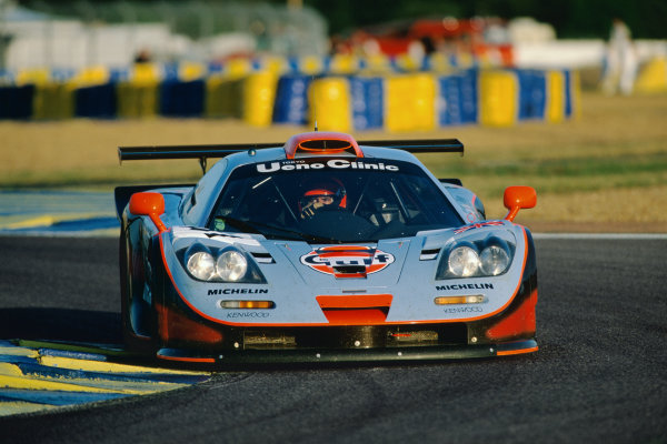 1997 Le Mans 24 Hours. Le Mans, France. 14th - 15th June 1997. Pierre-Henri Raphanel / Jean-Marc Gounon / Anders Olofsson (McLaren F1 GTR), 2nd overall and 1st in Class, action. World Copyright: LAT Photographic. Ref:  97LM17
