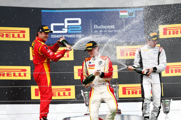 2014 GP2 Series Round 7. Hungaroring, Budapest, Hungary. Saturday 26 July 2014. Arthur Pic (FRA, Campos Racing), Stefano Coletti (MON, Racing Engineering) &Adrian Quaife-Hobbs (GBR, Rapax)  Photo: Sam Bloxham/GP2 Series Media Service. ref: Digital Image _SBL7744