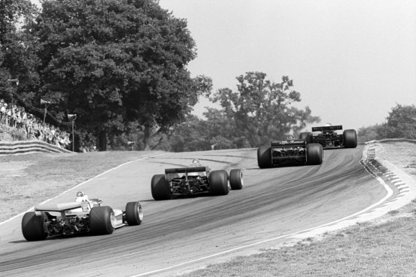 Race winner Carlos Reutemann (ARG) Ferrari 312T3 behind race retiree Riccardo Patrese (ITA) Arrows FA1, second placed Niki Lauda (AUT) Brabham BT46, and race leader Jody Scheckter (RSA) Wolf WR5, who retired from the race on lap 37 with a broken geartbox.