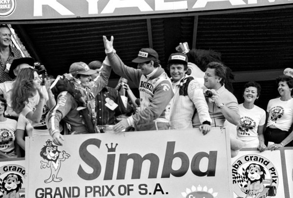 The podium (L to R): Gilles Villeneuve (CDN) Ferrari, race winner; Jody Scheckter (RSA) Ferrari, second; Jean-Pierre Jarier (FRA) Tyrrell, third.