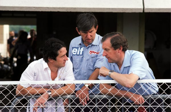 (L to R): Second placed Patrick Depailler (FRA) Tyrrell talks with Ken Tyrrell (GBR) Tyrrell Team Owner and Derek Gardner (GBR), designer of the six-wheeled Tyrrell P34.French Grand Prix, Rd 8, Paul Ricard, 4 July 1976.BEST IMAGE