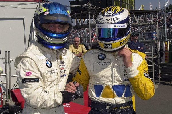 Nico Rosberg (FIN), right, with Alexander Margaritis (GRE), left.Formula BMW ADAC Championship, Rd5, Norisring, Germany. 30 June 2002.DIGITAL IMAGE