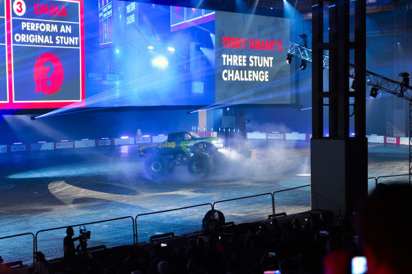 A Monster Truck performs in the Live Action Arena.