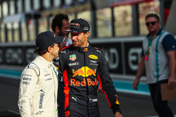 Felipe Massa (BRA) Williams and Daniel Ricciardo (AUS) Red Bull Racing on the drivers parade at Formula One World Championship, Rd20, Abu Dhabi Grand Prix, Race, Yas Marina Circuit, Abu Dhabi, UAE, Sunday 26 November 2017. BEST IMAGE