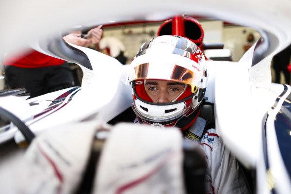 Charles Leclerc, Sauber, in cockpit.