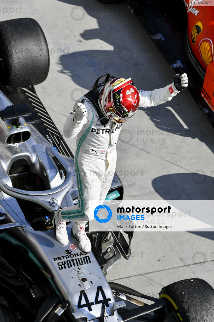 Lewis Hamilton, Mercedes AMG F1 W10, 1st position, celebrates on arrival in Parc Ferme