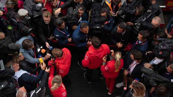 Sebastian Vettel, Ferrari anDrivers Charles Leclerc, Ferrari speak to the media