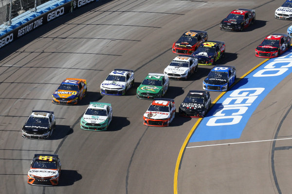 #95: Matt DiBenedetto, Leavine Family Racing, Toyota Camry Procore, #10: Aric Almirola, Stewart-Haas Racing, Ford Mustang Smithfield, #12: Ryan Blaney, Team Penske, Ford Mustang MoneyLion and #9: Chase Elliott, Hendrick Motorsports, Chevrolet Camaro Hooters