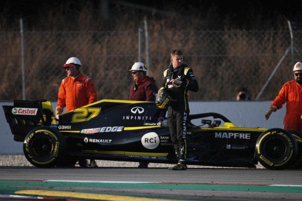 Nico Hulkenberg, Renault F1 Team R.S. 19 stops on track