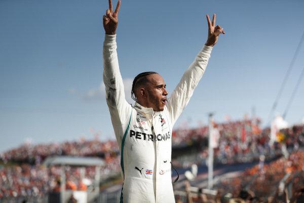 Lewis Hamilton, Mercedes AMG F1 celebrates in Parc Ferme.