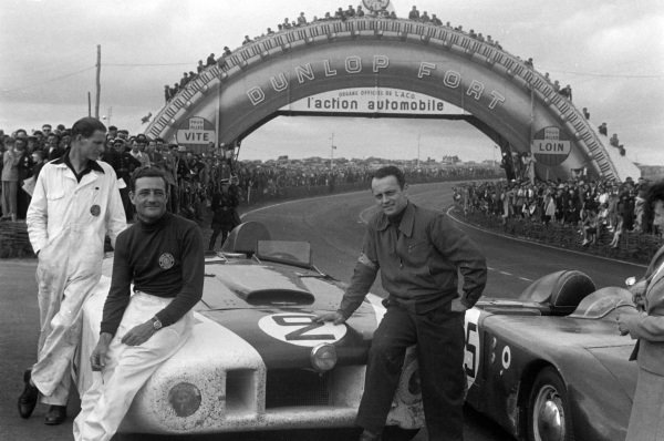 """Briggs Cunningham / Phil Walthers, B.S. Cunningham, Cadillac Spider """"Le Monstre"""", after the race."""