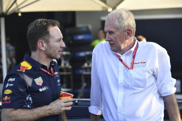 Christian Horner (GBR) Red Bull Racing Team Principal and Dr Helmut Marko (AUT) Red Bull Motorsport Consultant at Formula One World Championship, Rd1, Australian Grand Prix, Race, Albert Park, Melbourne, Australia, Sunday 26 March 2017.