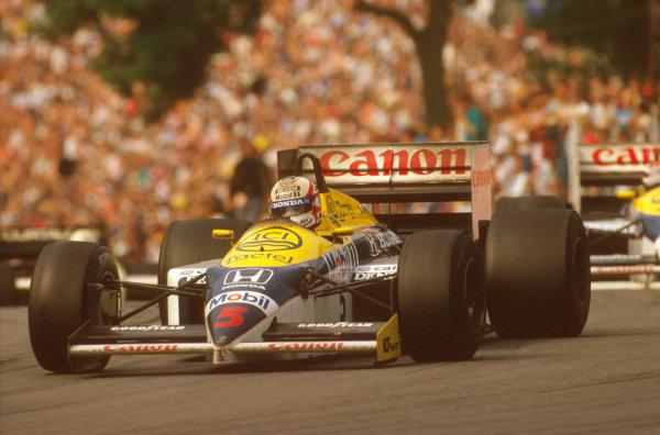 Brands Hatch, England.11-13 July 1986.Nigel Mansell (Williams FW11 Honda) 1st position at Druids.Ref-86 GB 31.World Copyright - LAT Photographic