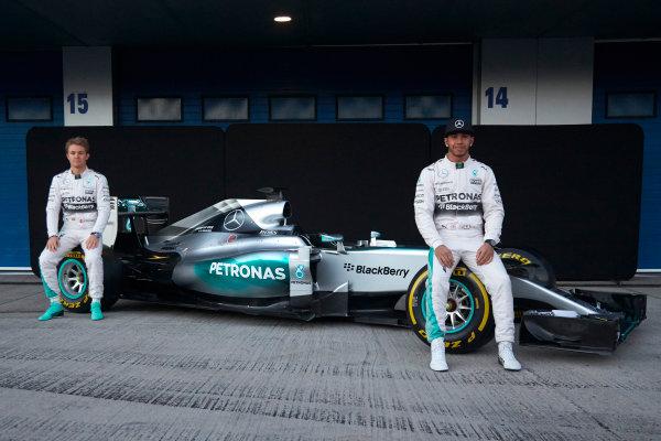 2015 F1 Pre Season Test 1 - Day 1 Circuito de Jerez, Jerez, Spain. Sunday 1 February 2015. Lewis Hamilton, Mercedes AMG, and Nico Rosberg, Mercedes AMG, launch the Mercedes W06. World Copyright: Steve Etherington/LAT Photographic. ref: Digital Image SNE26220