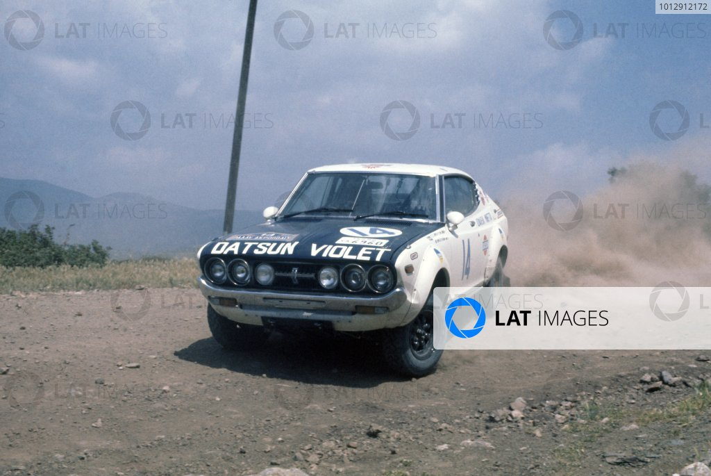 1976 World Rally Championship.Acropolis Rally, Greece. 22-28 May 1976.Harry Kallstrom/Claes-Goran Andersson (Datsun Violet 160J), 1st position.World Copyright: LAT PhotographicRef: 35mm transparency 76RALLY04