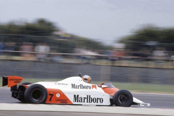 1981 British Grand Prix.Silverstone, Great Britain. 16-18 July 1981.John Watson (McLaren MP4/1-Ford Cosworth), 1st position.World Copyright: LAT PhotographicRef: 35mm transparency 81GB23