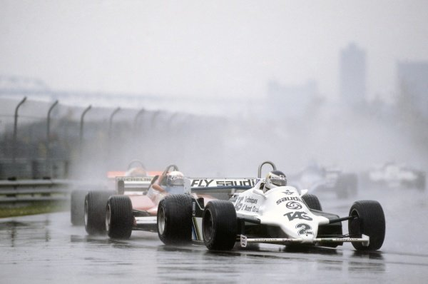 1981 Canadian Grand Prix.Montreal, Canada. 25-27 September 1981.Carlos Reutemann (Williams FW07C-Ford Cosworth) leads Didier Pironi (Ferrari 126CK) and Bruno Giacomelli (Alfa Romeo 179C).World Copyright: LAT PhotographicRef: 35mm transparency 81CAN26