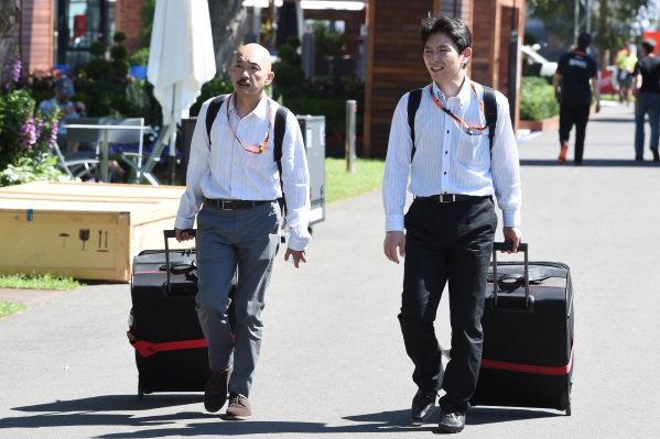 Honda engineers arrive at the track at Formula One World Championship, Rd1, Australian Grand Prix, Preparations, Albert Park, Melbourne, Australia, Wednesday 11  March 2015.