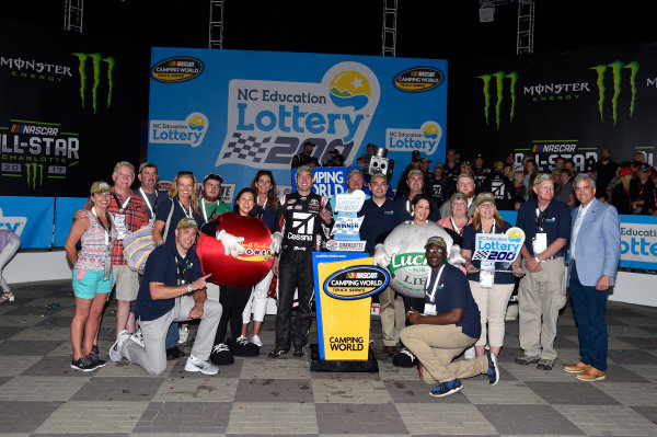 NASCAR Camping World Truck Series North Carolina Education Lottery 200 Charlotte Motor Speedway, Concord, NC USA Friday 19 May 2017 Kyle Busch, Cessna Toyota Tundra celebrates his win in Victory Lane World Copyright: Nigel Kinrade LAT Images ref: Digital Image 17CLT1nk04903
