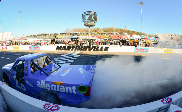 NASCAR Camping World Truck Series Alpha Energy Solutions 250 Martinsville Speedway, Martinsville, VA USA Saturday 1 April 2017 Chase Elliott celebrates with a burnout World Copyright: Logan Whitton/LAT Images ref: Digital Image 17MART1LW1888