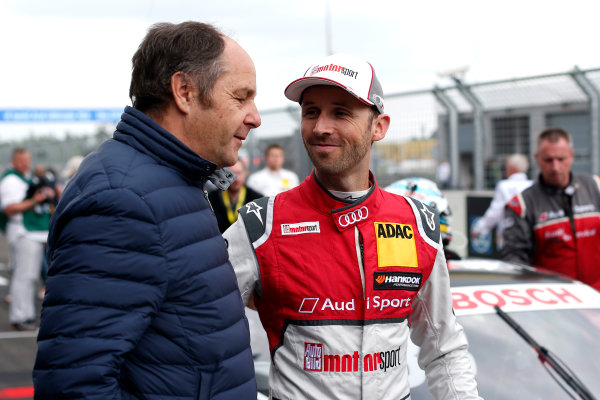 2017 DTM Round 2 Lausitzring, Germany. Saturday 20 May 2017. Gerhard Berger, ITR Chairman and Ren? Rast, Audi Sport Team Rosberg, Audi RS 5 DTM World Copyright: Alexander Trienitz/LAT Images ref: Digital Image 2017-DTM-R2-ESL-AT2-3080