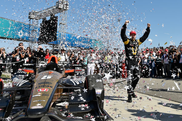 2017 Verizon IndyCar Series Toyota Grand Prix of Long Beach Streets of Long Beach, CA USA Sunday 9 April 2017 James Hinchcliffe celebrates the win in victory lane World Copyright: Scott R LePage/LAT Images ref: Digital Image lepage-170409-LB-7617