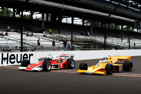 Verizon IndyCar Series Indianapolis 500 Drivers Meeting Indianapolis Motor Speedway, Indianapolis, IN USA Saturday 27 May 2017 Mario Andretti and Johnny Rutherford demonstrate historic racecars. World Copyright: Steve Tee/LAT Images ref: Digital Image _R3I6593