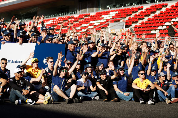 Circuit de Catalunya, Barcelona, Spain. Friday 12 May 2017. Drivers and volunteers give a wave at the FIA Volunteers Day celebrations. World Copyright: Glenn Dunbar/LAT Images ref: Digital Image _X4I5413