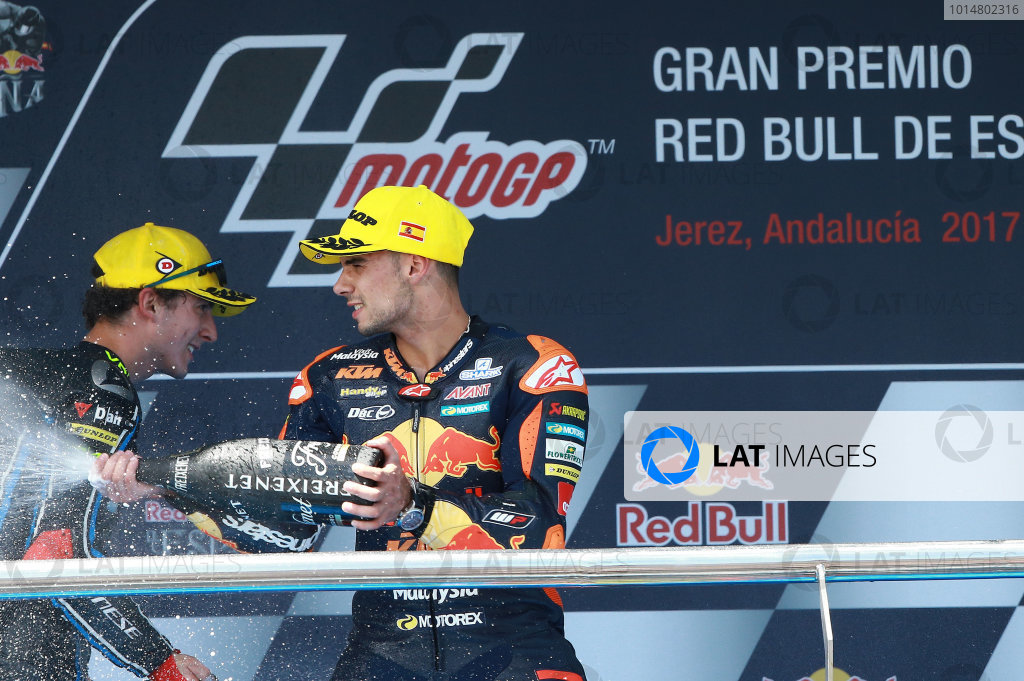 2017 Moto2 Championship - Round 4 Jerez, Spain Sunday 7 May 2017 Podium: second place Francesco Bagnaia, Sky Racing Team VR46, third place Miguel Oliveira, Red Bull KTM Ajo World Copyright: Gold & Goose Photography/LAT Images ref: Digital Image 668738