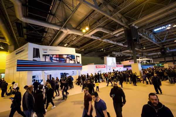 Autosport International Exhibition. National Exhibition Centre, Birmingham, UK. Sunday 15 January 2017. Jacques Villeneuve is interviewed on the Autosport stage Photo: Sam Bloxham/LAT Photographic ref: Digital Image _SLB5202