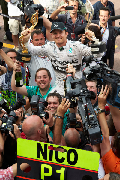 Monte Carlo, Monaco. Sunday 25 May 2014. Nico Rosberg, Mercedes AMG, 1st Position, and the Mercedes team celebrate victory. World Copyright: Steve Etherington/LAT Photographic. ref: Digital Image SNE12327 copy
