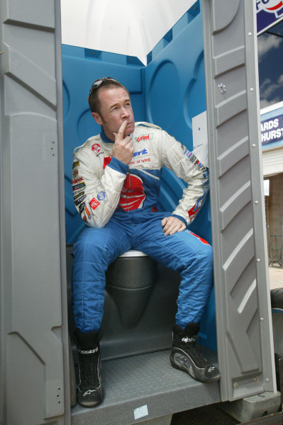 2003 Australian V8 SupercarsBathurst 1000kms, Bathurst, Australia. 12th October 2003.Holden V8 Supercar driver Greg Murphy looks back on last year when he got out of the car and went to the toilet during a 5min penelty in Bob Jane T-Marts 1000 . Murphy dominated the weekend breaking the lap record in qualifying and the Shootout, Kelly is the youngest driver to win at Bathurst, Australia.World Copyright: Mark Horsburgh/ LAT Photographic