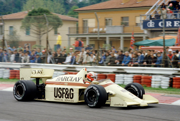 1986 San Marino Grand Prix. Imola, Italy. 25-27 April 1986. Marc Surer (Arrows A8 BMW) 9th position. Ref-86 SM 31. World Copyright - LAT Photographic