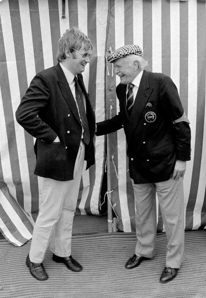1974 Dutch Grand Prix. Zandvoort, Holland. 21st - 23rd June 1974. Alan Henry shares a joke with Emmanuel de Graffenried, portrait. World Copyright: LAT Photographic.  Ref: 5593 # 20.