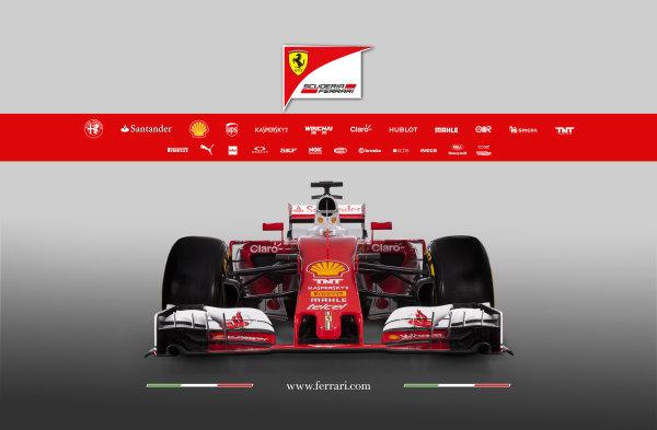 Ferrari SF16-H Reveal. Friday 19 February 2016. The Ferrari SF16-H. Photo: Ferrari (Copyright Free FOR EDITORIAL USE ONLY) ref: Digital Image 160003_new-SF16-h_fronte_2016_sponsor