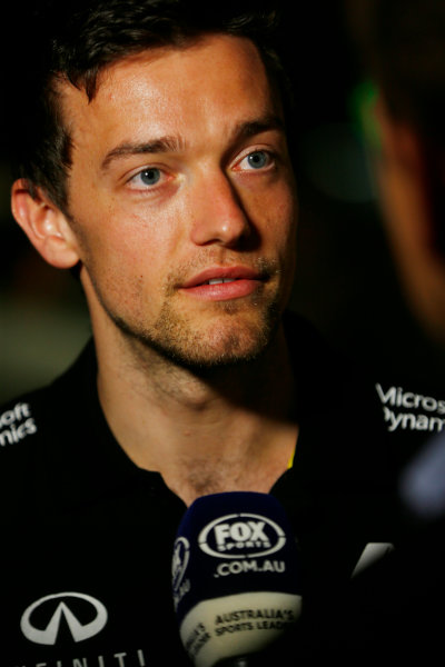 Albert Park, Melbourne, Australia. Wednesday 16 March 2016. Jolyon Palmer talks to the media at the Renault RS16 livery launch. World Copyright: Andy Hone/LAT Photographic ref: Digital Image _ONZ9939