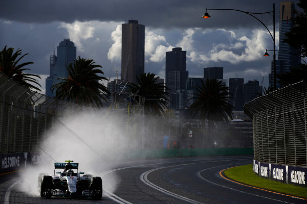 Albert Park, Melbourne, Australia. Friday 18 March 2016. Nico Rosberg, Mercedes F1 W07 Hybrid. World Copyright: Charles Coates/LAT Photographic ref: Digital Image _W7W6839