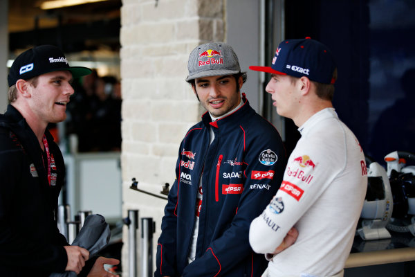 Circuit of the Americas, Austin, Texas, United States of America. Saturday 24 October 2015. Conor Daly, Schmidt Peterson Motorsports, IndyCar driver, with Carlos Sainz Jr, Toro Rosso, and Max Verstappen, Toro Rosso. World Copyright: Glenn Dunbar/LAT Photographic. ref: Digital Image _89P4831