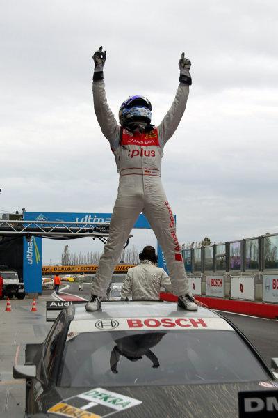Race winner Timo Scheider (GER), Audi Sport Team Abt celebrates in parc ferme.DTM, Rd10, Adria International Raceway, Italy. 29-31 October 2010 World Copyright: LAT Photographicref: dne1031oc131